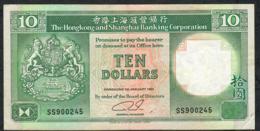 HONG-KONG P191c 10 DOLLARS 1.1.1992  #SS     VF NO P.h. - Hong Kong