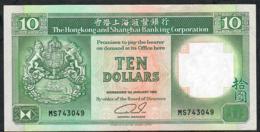HONG-KONG P191c 10 DOLLARS 1.1.1992  #HS     VF NO P.h. - Hong Kong