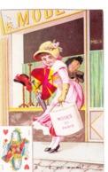 """Chromo 7cm Large X 11 Cm Haut - Représentant Dame """"mode De Paris""""  N°4 Qui M'aime ? - Dame De Coeur - Cartes Postales"""