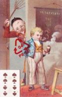 Chromo 7cm Large X 11 Cm Haut - Représentant Hommes  N°10 Ce Que L'on N'attend Pas ? - 8 De Pique - Postcards
