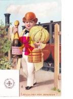 Chromo 7cm Lg X 11 Cm Ht - Représentant Hommes Avec Champagne Et Foie Gras N°7  Ce Qui Fait Mon Bonheur ? - As De Trèfle - Cartes Postales