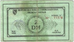 Bosnia Y Herzegovina (BONOS) 2 Mark Mostar 1992 Ref 4414-2 - Bosnia Y Herzegovina