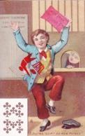 Chromo 7cm Lg X 11 Cm Ht - Représentant Homme Gagnant à La Loterie N°8 Qui Me Sort De Mes Peines ? - 10 De Trèfle - Cartes Postales