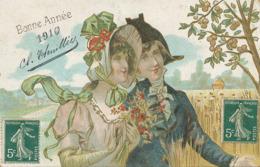 Belle Gaufrée Bonne Année 1910 Couple Fleurs Des Champs  Envoi à Houal à Vernouillet - Bloemen