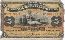 Cuba 5 Pesos 15-5-1896 Pk 48 B Resello PLATA En Reverso Ref 4342-2 - Cuba
