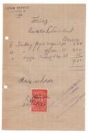 1921 YUGOSLAVIA, JUDAICA, MACEDONIA, SKOPJE, AVRAM BERESI, INVOICE, 1 REVENUE STAMP - Invoices & Commercial Documents