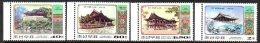 Corée Nord DPR Korea 3087/90 Pavillons Historiques De La Guerre De Corée - Geschiedenis