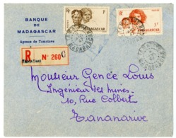MADAGASCAR ENV 1942 TAMATAVE LETTRE RECOMMANDEE => TANANARIVE - 1921-1960: Periodo Moderno