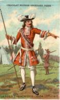 CHROMO CHOCOLAT GRONDARD GARDES FRANCAISES 1664 OFFICIER - Altri