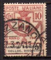 ITALY KINGDOM ITALIA REGNO 1924 PARASTATALI UFFICIO NAZIONALE COLLOCAZIONE DISOCCUPATI CENT. 10 USATO USED - 1900-44 Victor Emmanuel III