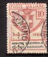 ITALY KINGDOM ITALIA REGNO 1924 PARASTATALI UFFICIO NAZIONALE COLLOCAZIONE DISOCCUPATI CENT. 10 USATO USED OBLITERE' - 1900-44 Victor Emmanuel III