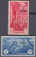 LIBIA, COLONIA ITALIANA - 1937 - Serie Completa Di 2 Valori Nuovi : Yvert Posta Aerea 4 MH E 5 MNH, Come Da Immagine. - Libia