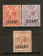 BRITISH LEVANT 1921 2d, 3d, 5d SG L18, L19, L21 MOUNTED MINT Cat £22+ - Levant Britannique