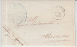 ITALIA USED COVER 07/03/1863 POGGIARDO TO MINERVINO DI LECCE - 1. ...-1850 Vorphilatelie