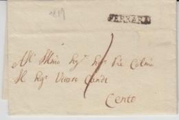 ITALIA USED COVER 1819 FERRARA TO CENTO GRIFFES - ...-1850 Préphilatélie