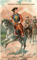 CHROMO CHOCOLAT GRONDARD MOUSQUETAIRE 2 EME COMPAGNIE MAISON DU ROI 1745 - Altri