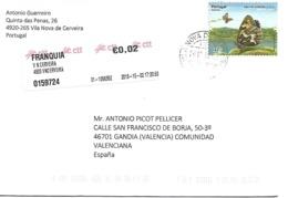 Correo Ordinario De Portugal A España. Tema Fauna Y Naturaleza. Franqueo En Euros - 1910-... República