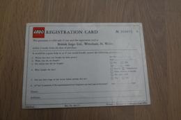 LEGO - REGISTRATION CARD - Original Lego 1970-80's - Vintage - EN - Kataloge