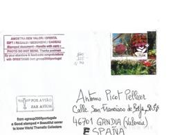 Correo Ordinario Por Avión De Portugal A España. Tema Flora. Franqueo En Euros - Cartas