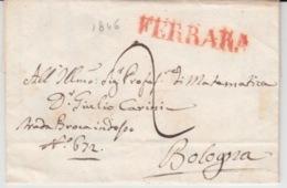ITALIA USED COVER 28/05/1846 FERRARA TO BOLOGNA GRIFFES CACHETS - ...-1850 Préphilatélie
