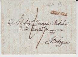 ITALIA USED COVER 10/05/1827 FERRARA TO BOLOGNA GRIFFES - ...-1850 Préphilatélie