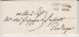 ITALIA USED COVER 21/02/1849 CREMONA TO GONZAGA GRIFFE - ...-1850 Préphilatélie