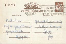 Entier Postal 90c Iris Chantier De Jeunesse 16 - Poststempel (Briefe)
