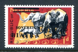 Biafra - Nigeria 1968 Wildlife Overprints - 1d Elephants HM (SG 5) - Nigeria (1961-...)