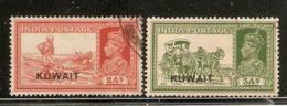 KUWAIT 1939 2a, 3a SG 39, 41 FINE USED Cat £10.50 - Kuwait