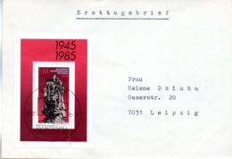 """(SB-FDC) DDR Blanko-FDC Mi Block 82 """"40. Jahrestag Der Befreiung Vom Faschismus"""", ESSt  BERLIN 7.5.1985 - [6] Repubblica Democratica"""
