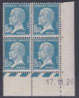 France N° 181 X Type Pasteur : 1 F. 50 Bleu En Bloc De 4 Coin Daté Du 17 . 11 . 26, Trace De Charnière (1 Timbre), TB - ....-1929