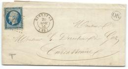 N° 14 BLEU NAPOLEON SUR LETTRE / GINESTAS AUDE POUR CARCASSONNE / 20 NOV 1855 / PC 1397 INDICE 7 / MINES DE MAILHAC - Marcofilie (Brieven)