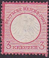 DR Germany Mi. 9 3 Kreuzer Kleiner Schild, Ohne Gummi Dünne Stelle - Germania