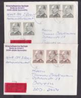 DDR Walter Ulbricht 2 Wert-Briefe Mit 1 M(5) Bzw. 2 MDN(3) Aus BadMuskau Nach Der BRD, Je 1 Mke Durch Rs. Siegellackdef. - [6] Repubblica Democratica