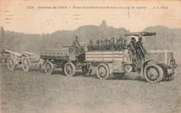 Militaire Guerre 1914 1918 Train D' Artillerie Lourde Dans Un Parc De Réserve Camion Canon Cachet 1915 - War 1914-18