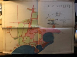 Rare Plan Colorié De LARMOR (56 Morbihan) Non Daté Mais Antérieur à 1950 - Planes Técnicos