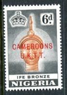Cameroon 1960-61 Nigeria Overprints - 6d Ife Bronze - P.14 - MNH (SG T7) - Cameroon (1960-...)