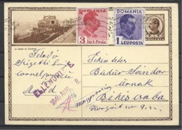 Romania,St. Card, Casino Constanta, Arad- Bekescsaba, Checked Up By Hungary, 1940. - Ganzsachen