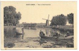 """Cpa..Saint-Omer..vue A Clairmarais..animée...barques..moulin..(au Dos Publicité """"biscuits Bouchier-Bazel"""" Angouleme - Saint Omer"""