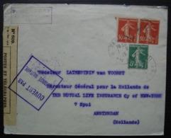 Paris 111 Lettre Censurée 1915 De La Rue Sainte Anne Paul Baudry Pour Amsterdam Contrôle De Dieppe A 204 à L'arrière - Marcophilie (Lettres)