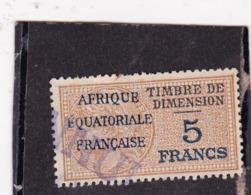 Timbre Fiscal Dimension A.E.F Médaillon De Daussy 5 Francs - A.E.F. (1936-1958)
