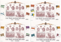 4 HOJITAS DIFERENTES CONMEMORATIVAS. MADRID 1985. XVII FERIA NACIONAL DEL SELLO. NUEVAS CON GOMA - Blocs & Hojas