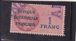 Timbre Fiscal A.E.F Médaillon De Daussy 1 Franc Légende Effilée - A.E.F. (1936-1958)