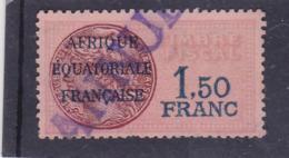 Timbre Fiscal A.E.F Médaillon De Daussy 1.5 Franc Légende Effilée - A.E.F. (1936-1958)
