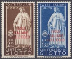 ISOLE DELL'EGEO, COLONIA ITALIANA - 1938 - Serie Completa Di 2 Valori Nuovi MH: Unificato 109/110, Come Da Immagine. - Egeo