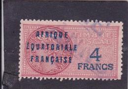 Timbre Fiscal A.E.F Médaillon De Daussy 4 Francs Légende Grasse - A.E.F. (1936-1958)