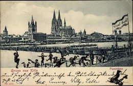 Cp Köln Am Rhein, Panorama, Pontonbrücke - Germany