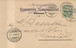 SVIZZERA SWITZERLAND SUISSE - CHIASSO - SPEDIZIONIERE GIUSEPPE CAMPONOVO - 1903 - TI Tessin