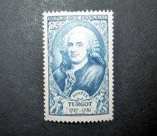 FRANCE 1949 N°858 ** (PERSONNAGES CÉLÈBRES DU XVIIIÈME SIÈCLE. TURGOT. 25F + 10F BLEU) - France