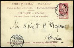 ENTIER POSTAL EN PROVENANCE DE MAESEYCK - 1902 - POUR BRESLAU - - Stamped Stationery